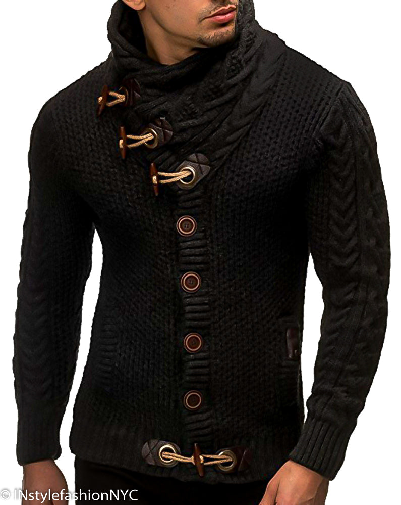 Men's Black Shawl Turtleneck Sweater, INstyle fashion
