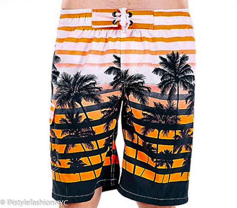 Men's Orange And White Tropical Swimwear, INstyle fashion