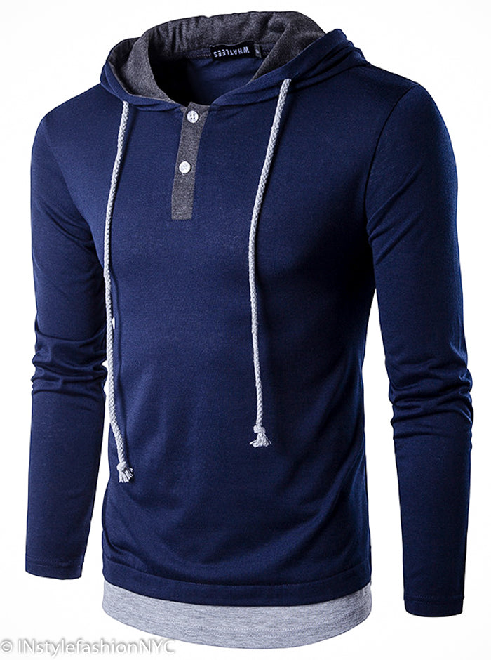 Men's Navy Blue Pullover Drawstring Hoodie, INstyle fashion