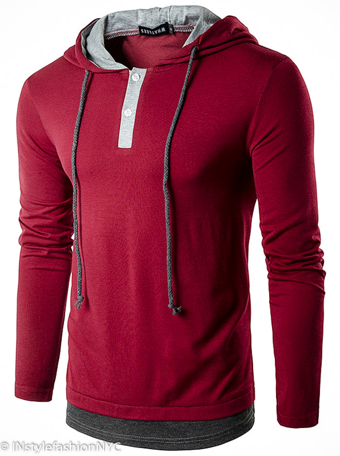 Men's Dark Red Pullover Drawstring Hoodie, INstyle fashion