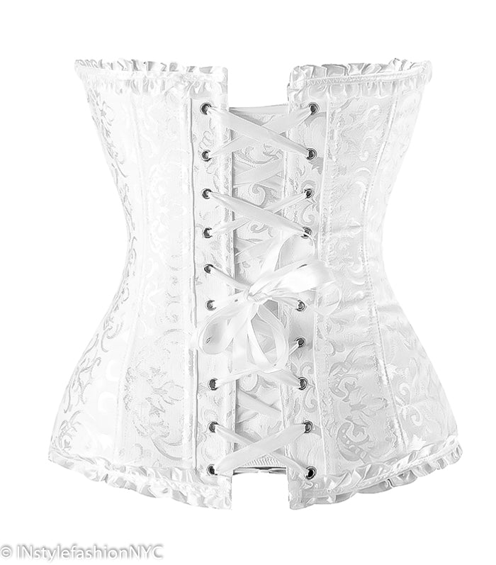 Women's White Victorian Ruffled Lace Corset, INstyle fashion