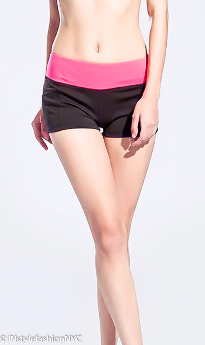 Women's Black And Hot Pink Fitness Shorts, INstyle fashion