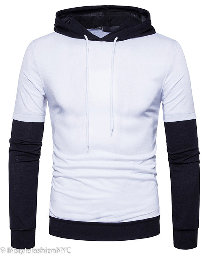 Men's White Long Sleeve Hoodie, INstyle fashion