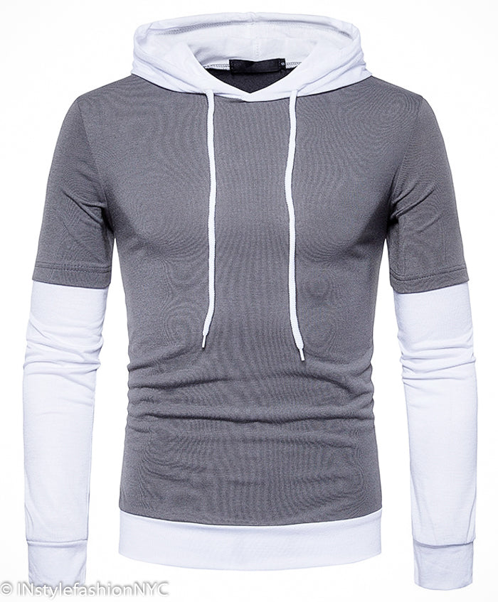 Men's Dark Gray Long Sleeve Hoodie, INstyle fashion