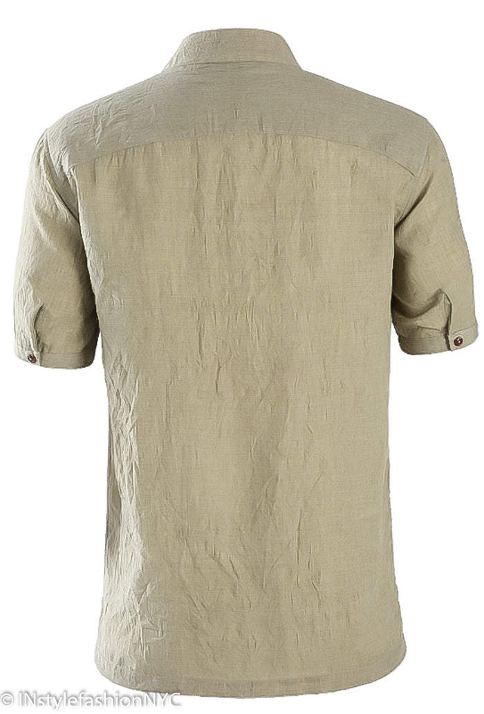 Men's Casual Short Sleeve Light Gray Linen Shirt, INstyle fashion