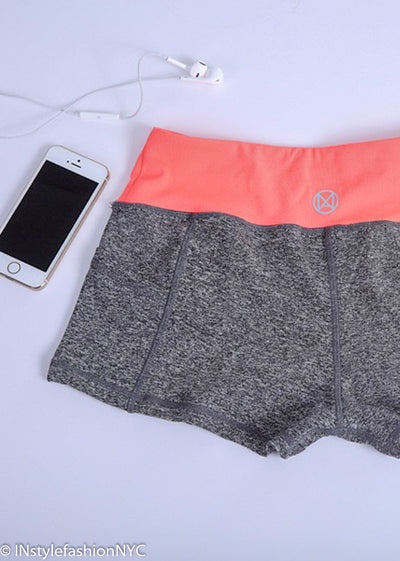 Women's Gray and Apricot Fitness Shorts, INstyle fashion