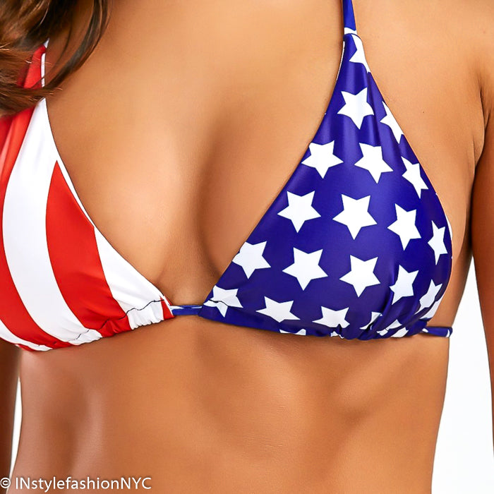 Women's Red, White & Blue Flag String Bikini
