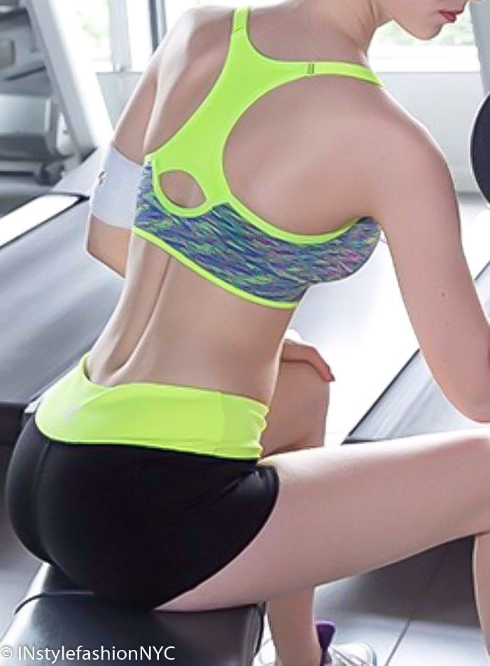 Women's Black And Yellow Fitness Shorts, INstyle fashion