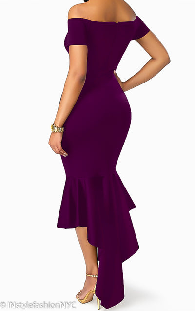 Women's Purple Off Shoulder High Low Hemline Dress, INstyle fashion
