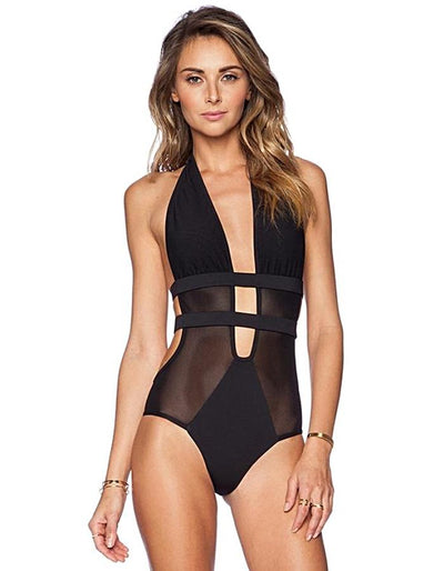 Women's Black Backless Monokini Swimwear