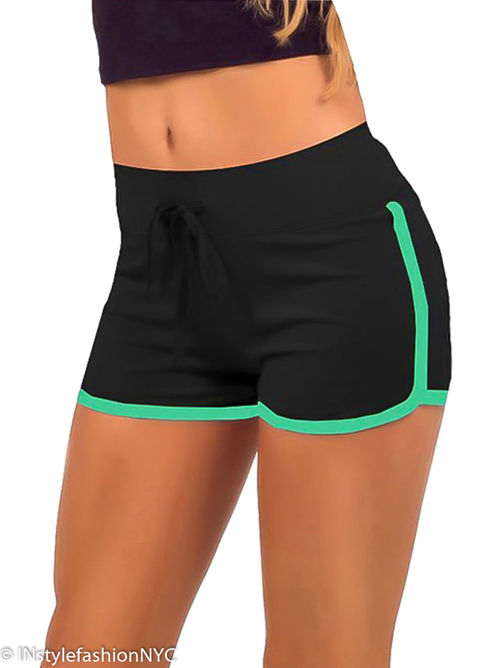 Women's Black Contrasting Green Fitness Shorts, INstyle fashion