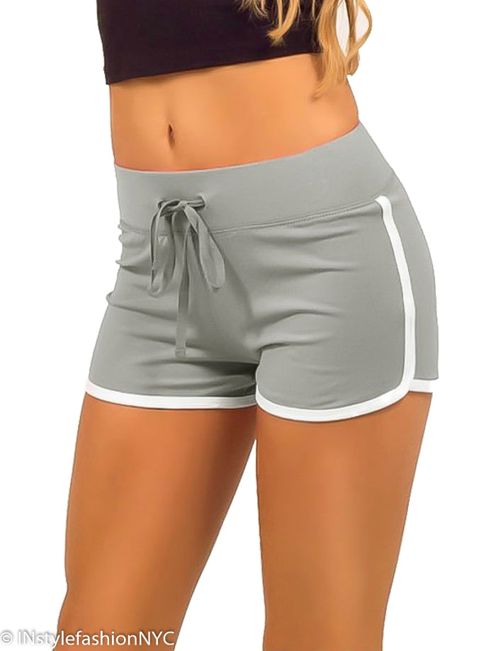 Women's Gray Contrasting White Fitness Shorts, INstyle fashion