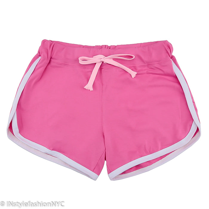 Women's Pink Contrasting White Fitness Shorts, INstyle fashion