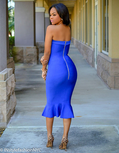 Women's Blue Strapless Mermaid Midi Dress, INstyle fashion