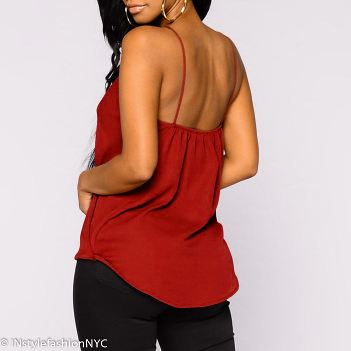 Women's Red Draped Surplice Cami, INstyle fashion
