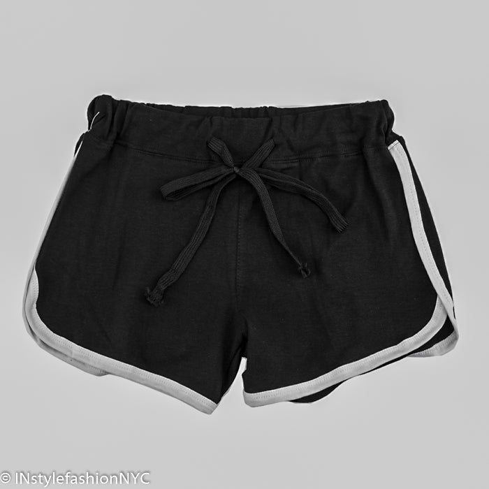 Women's Black Contrasting White Fitness Shorts, INstyle fashion