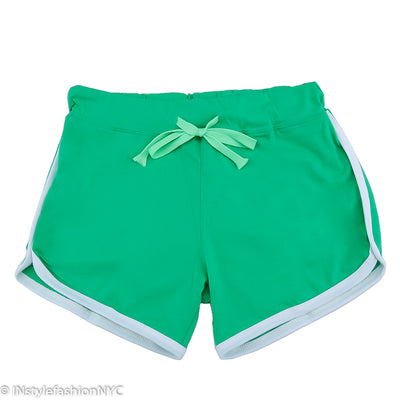 Women's Mint Green Contrasting White Fitness Shorts, INstyle fashion