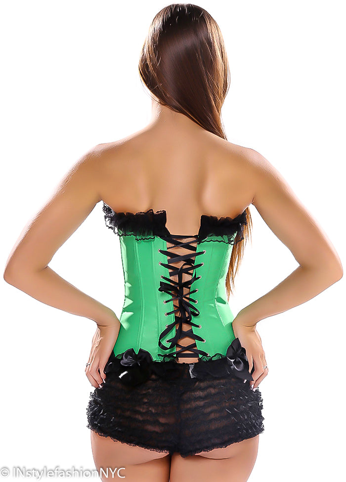 Women's Emerald Green Lace Up Corset And G-String, INstyle fashion