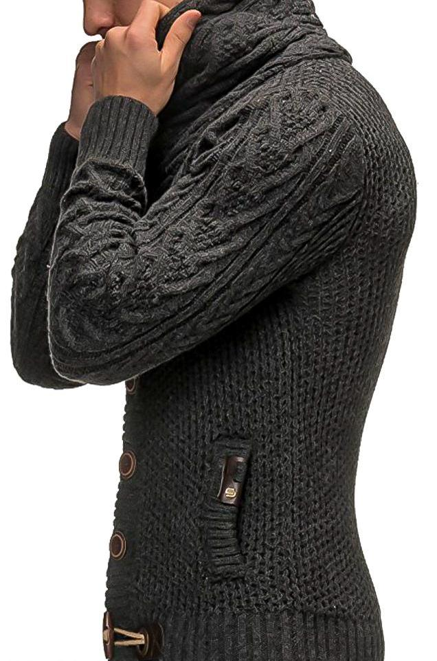 Men's Dark Gray Shawl Turtleneck Sweater, INstyle fashion