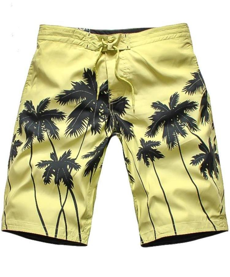 Men's Yellow Palm Tree Board Shorts, INstyle fashion
