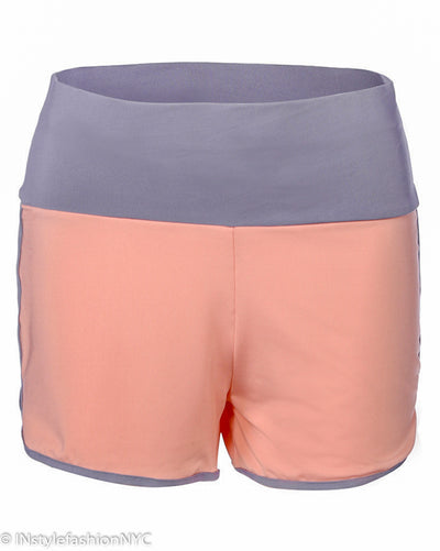 Women's Peach And Gray Mini Fitness Shorts, INstyle fashion