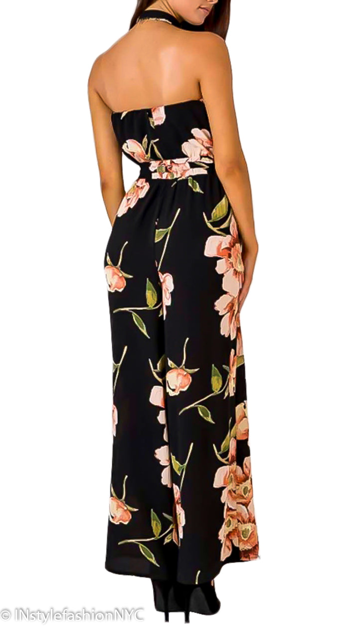 Women's Black Floral Off Shoulder Jumpsuit, INstyle fashion