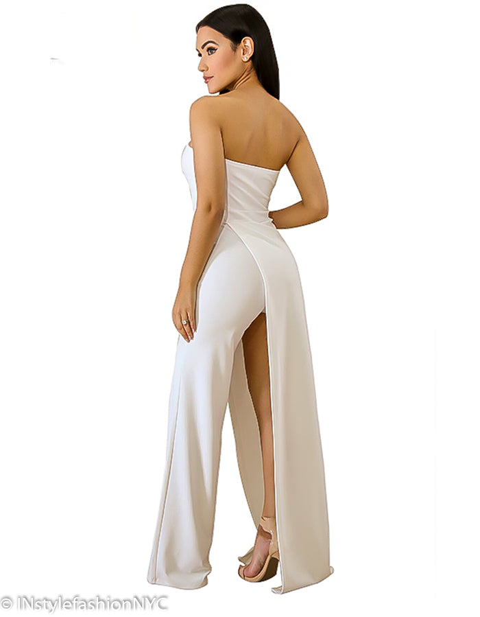 Women's White Split Leg Jumpsuit, INstyle fashion
