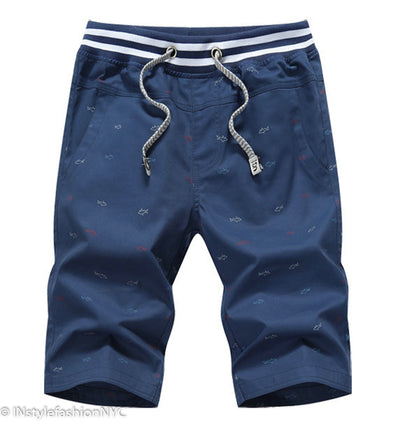 Men's Blue Shark Print Beach Shorts, INstyle fashion