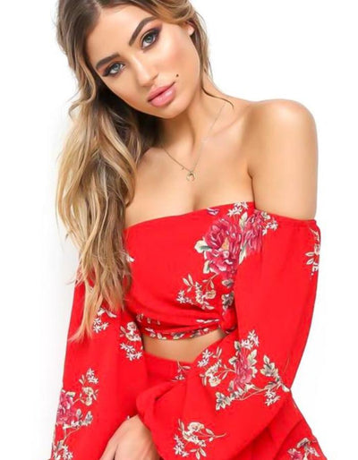 Women's Red Off Shoulder Top And Skirt Set, INstyle fashion