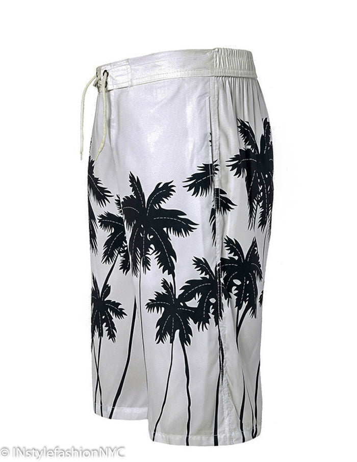 Men's White Palm Tree Board Shorts, INstyle fashion
