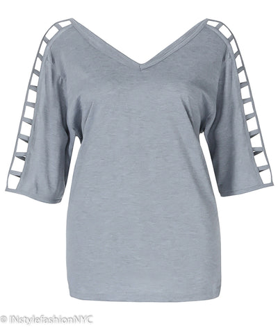 Women's Gray Hollow Out Sleeve Plus Size Shirt, INstyle fashion