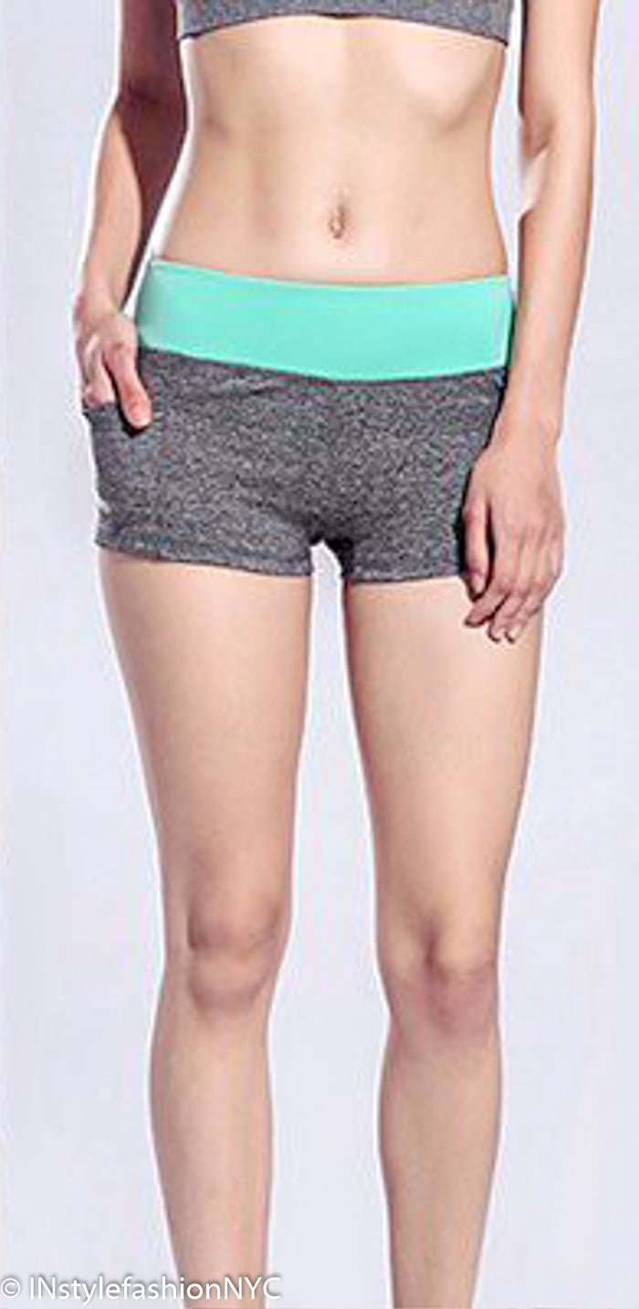 Women's Gray And Mint Fitness Shorts, INstyle fashion