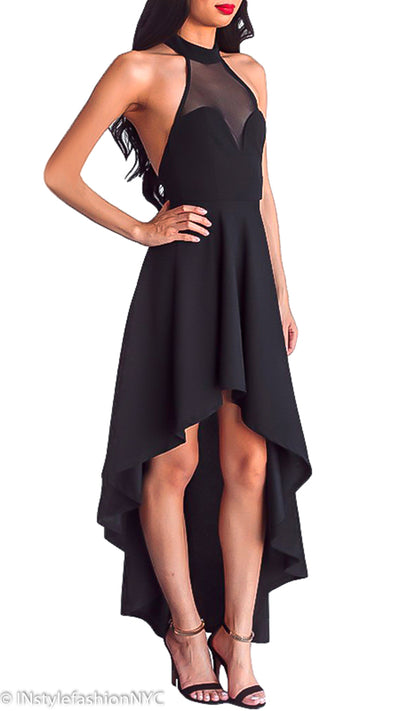 Women's Black Mesh Halter Neck High Low Dress, INstyle fashion