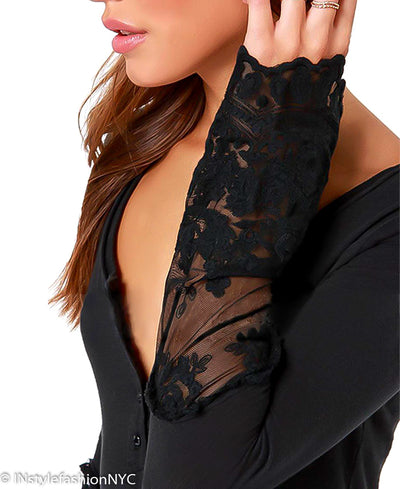 Women's Black Sheer Lace Insert Blouse, INstyle fashion
