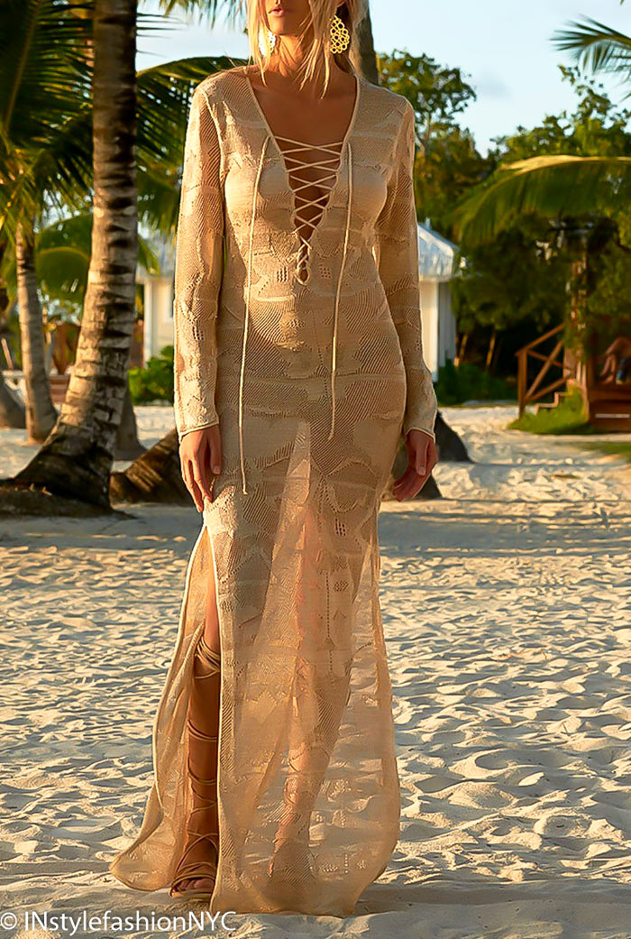 Women's Tan Sheer Long Cover Up, INstyle fashion