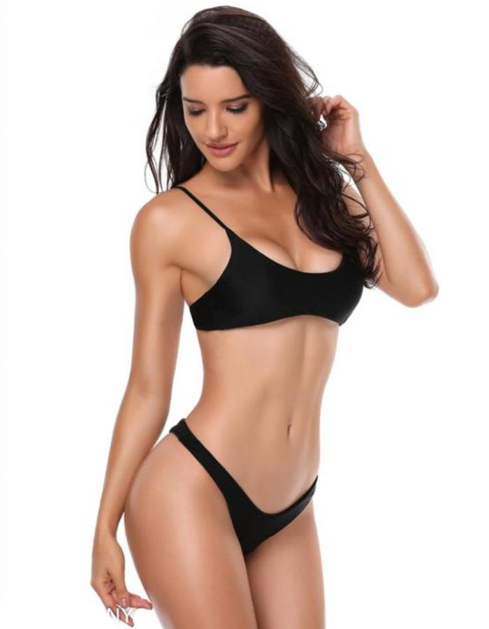 Women's Black Scoop Top Bikini Swimwear