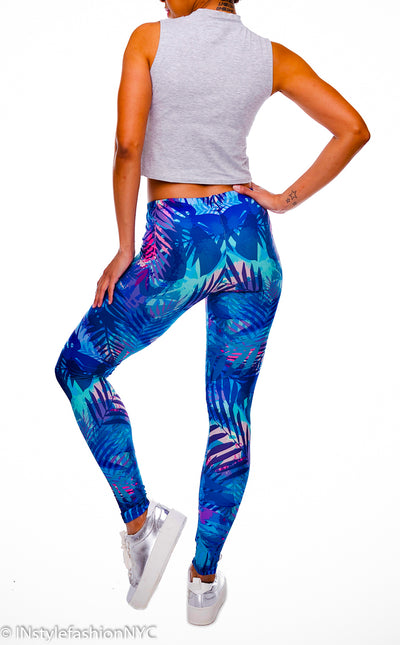 Women's Blue Tropical Leaves Fashion Leggings, INstyle fashion