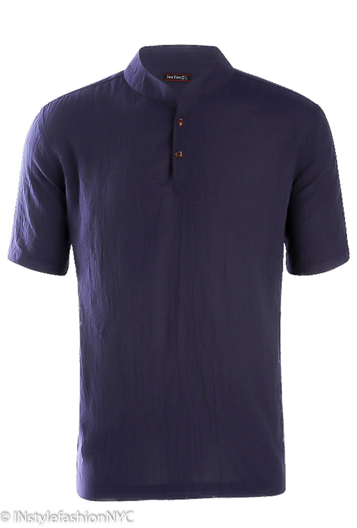 Men's Casual Short Sleeve Navy Blue Linen Shirt, INstyle fashion