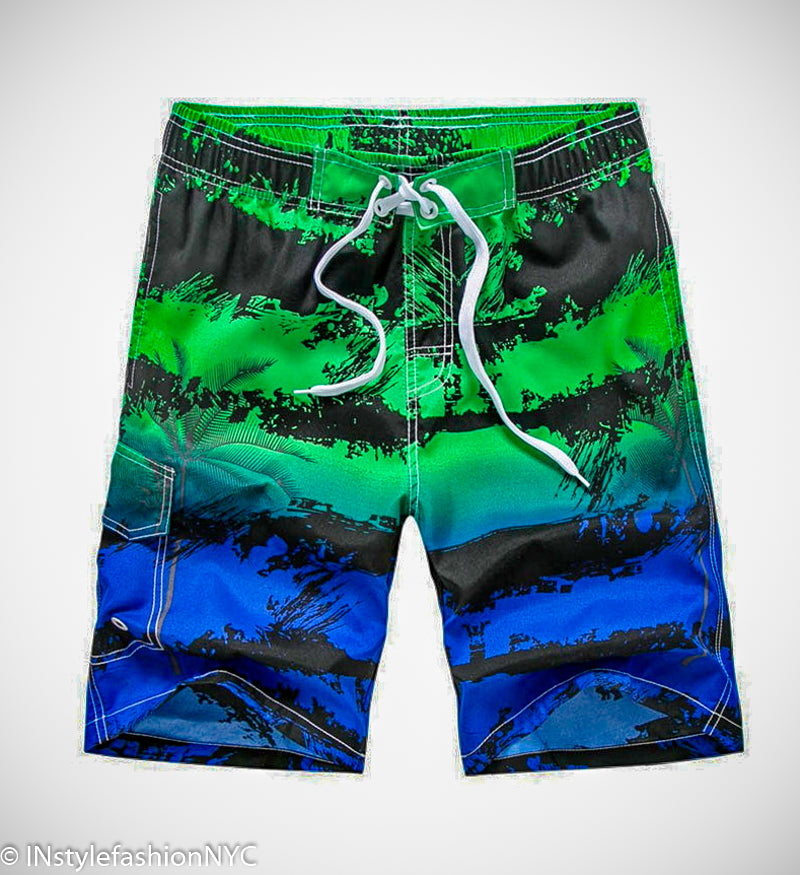 Men's Blue And Green Tropical Swimwear, INstyle fashion