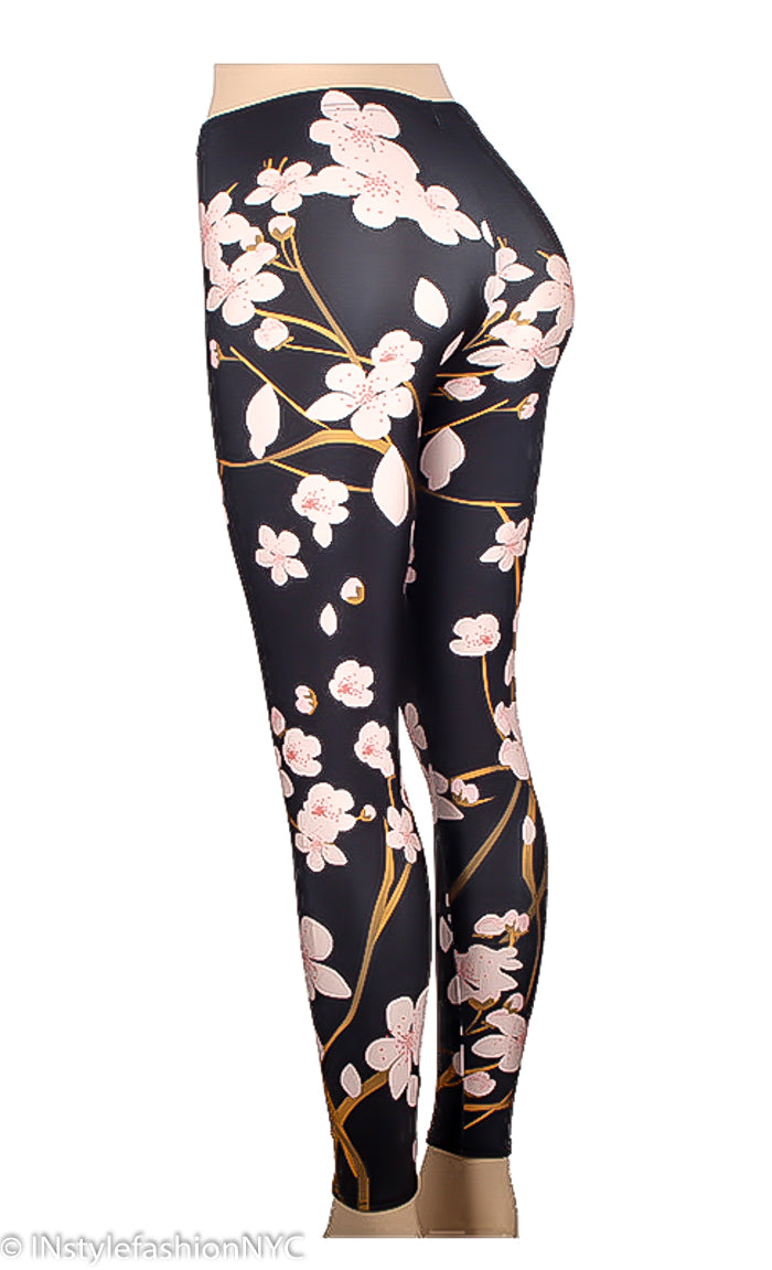 Women's Cherry Blossom Print Leggings, INstyle fashion