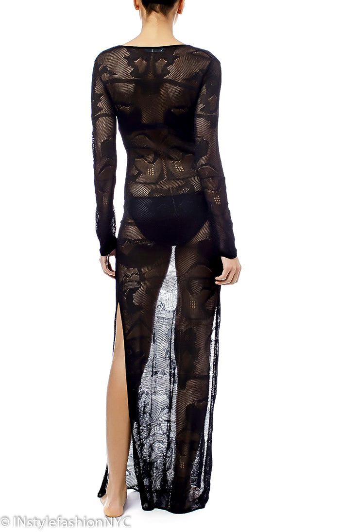 1b7308594305d Women's Black Sheer Long Cover Up, INstyle fashion