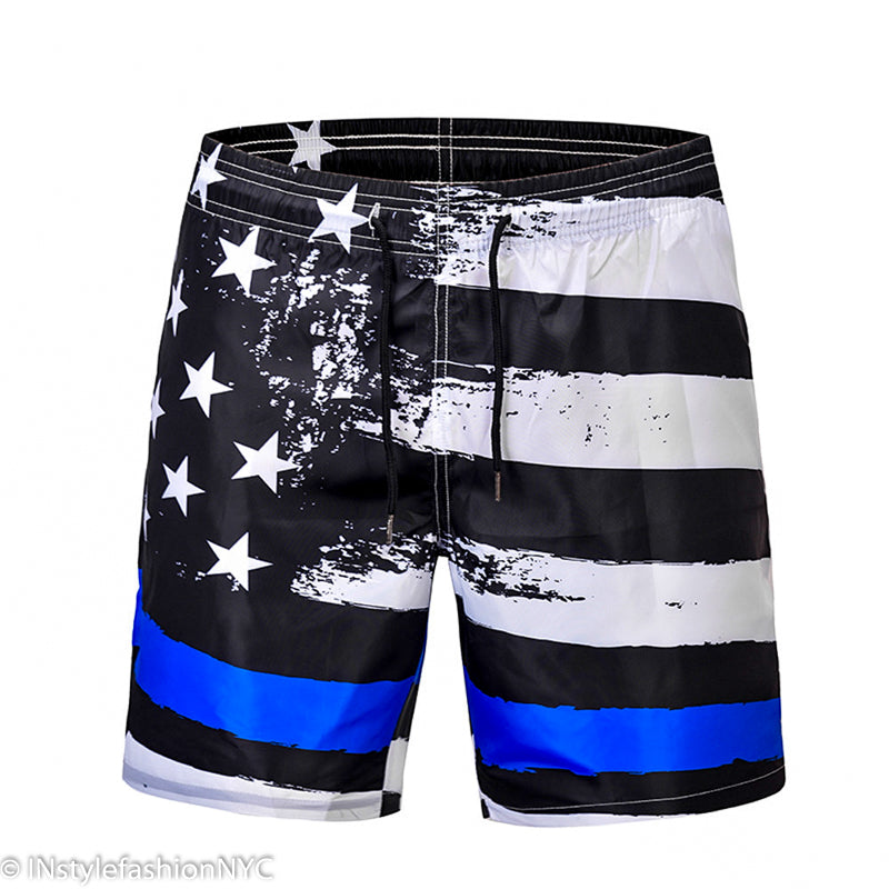 Men's Black And White Flag Board Shorts, INstyle fashion