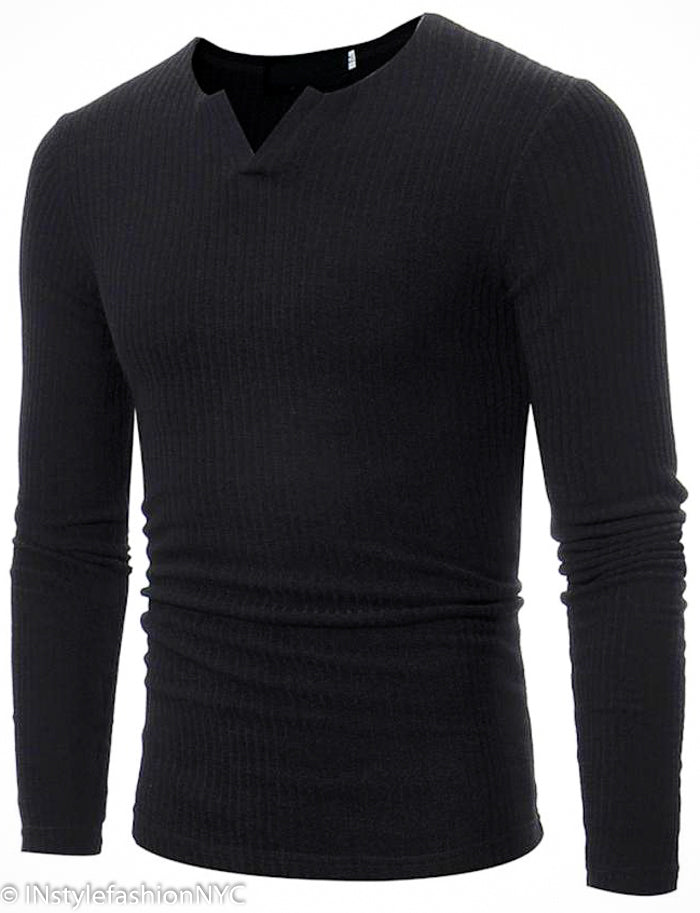 Men's Black Fitted Long Sleeve V-Neck Shirt, INstyle fashion