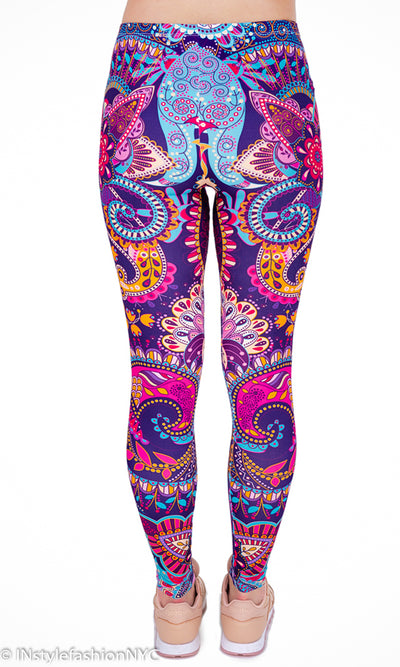 Women's Purple And Blue Floral Mandala Fashion Leggings, INstyle fashion