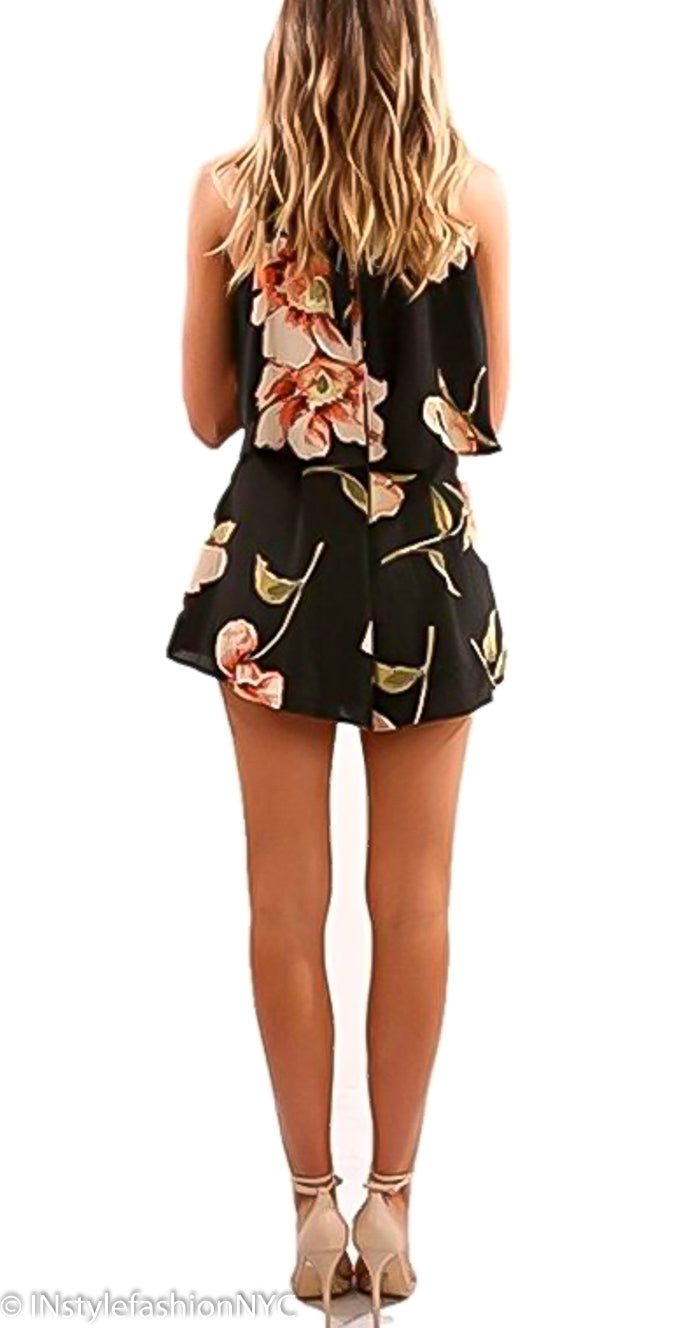 Women's Black Floral Cropped Top And Shorts Set, INstyle fashion