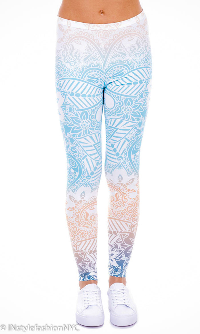 Women's Blue And Peach Mandala Fashion Leggings, INstyle fashion