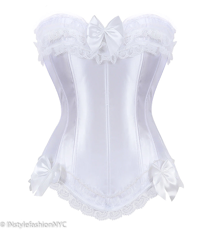 Women's White Satin Ruffled Lace Corset, INstyle fashion