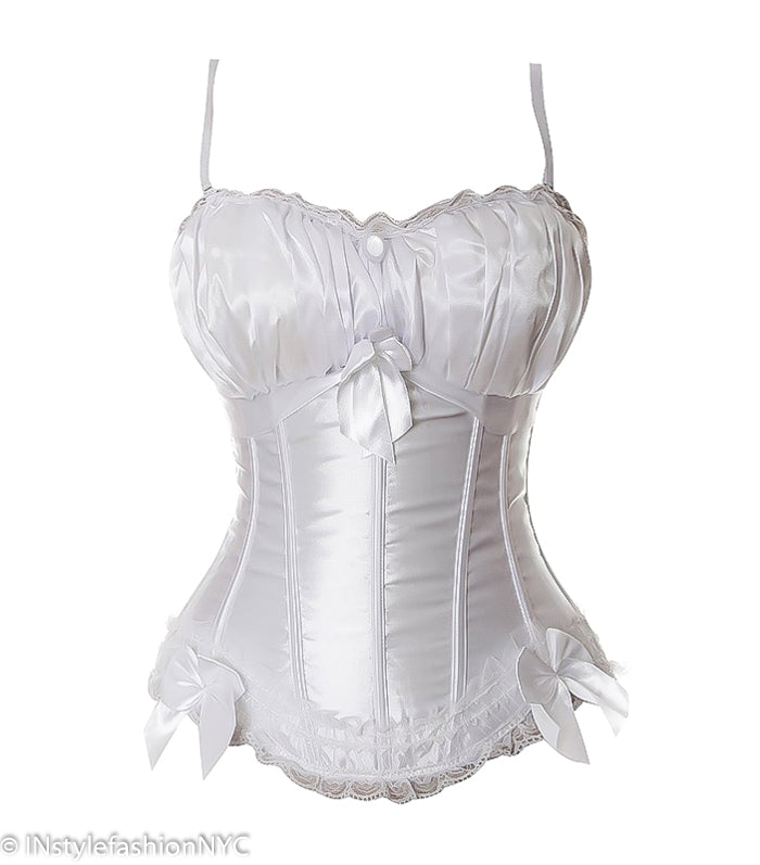 Women's White Satin Burlesque Corset, INstyle fashion