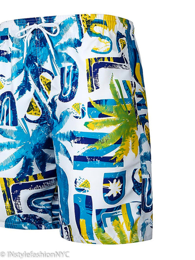 Men's Blue And Yellow Palm Swimwear, INstyle fashion