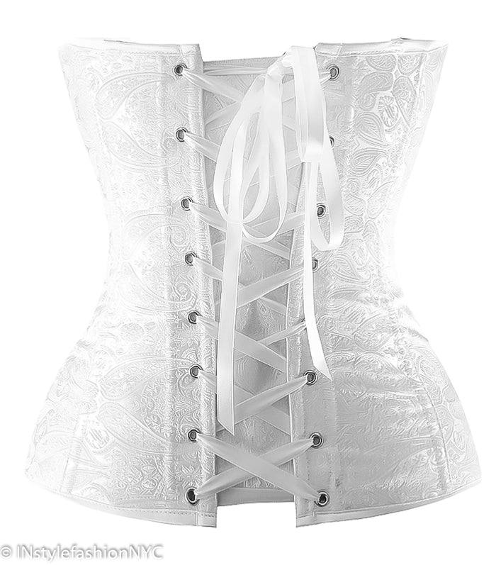 Women's White Satin Burlesque Paisley Corset, INstyle fashion